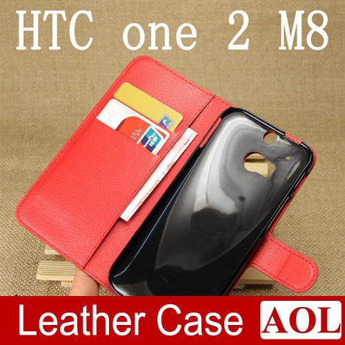For HTC One 2 M8 Luxury Litchi Wallet Folio Flip PU leather Case Cover With Card Slot Slots Pouch Pocket Stand For HTC One 2 M8