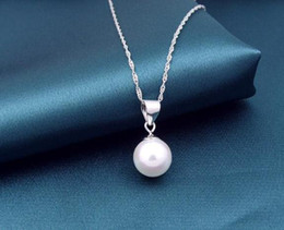 Wholesale Natural Pearls Wedding Necklaces - Natural AAA+16mm white shell akoya round pearl necklace 18inch925