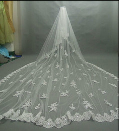 Wholesale Diamond Wedding Veils - Gorgeous 300 CM Lace Purfle Cathedral Wedding Veil With Sparkling Diamond Two Layer White Ivory Bride Weddng Veil Free Comb