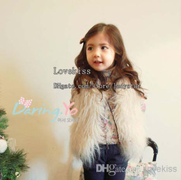 Wholesale Kids White Fur Coat - Girls Cute Waistcoat Fur Vest Warm Vests Sleeveless Coat Children Outwear Winter Coat Baby Clothes Kids Clothing Girl Waistcoat