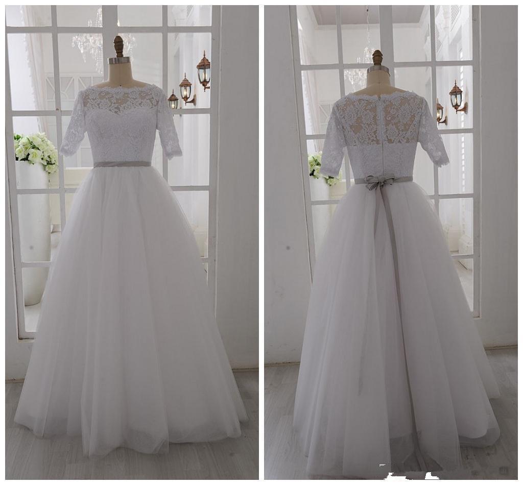 Images réelles! 2019 robes de mariée blanches demi-manche bateau cou cou ruban ceinture longueur de plancher une ligne de tulle dentelle robes de mariée sur mesure w133