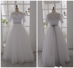 Wholesale Wedding Dress Bow Halter - Actual Pictures! 2014 White Wedding Dresses Half Sleeve Bateau Neck Ribbon Sash Floor Length A-Line Tulle Lace Bridal Gowns Custom Made W133