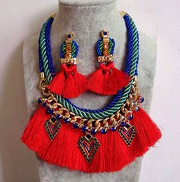 earrings ribbon 2019 - Geoemtry Charms Thread Tassels Choker chunky Necklace Earring Jewelry Set Bohemia Style Ribbon Gold Link Chain Metal Cry