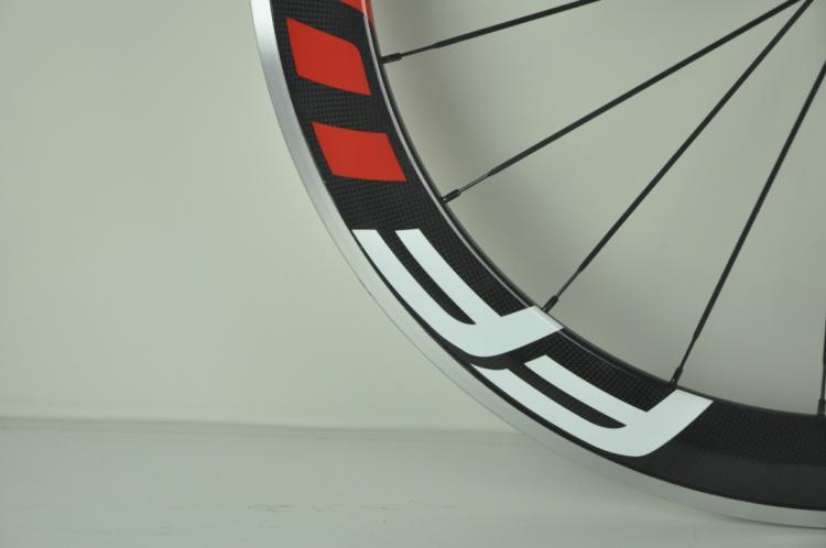 2020 New White Red FFWD 50mm Clincher Alloy Brake Surface Wheelset Carbon Fiber Road Bike Wheels