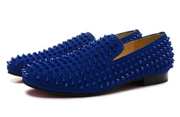 Wholesale Spiked Rivets - New 2016 men women blue matter leather red bottom loafers,brand top quality spiked flats oxfords wedding dress shoes Free shipping