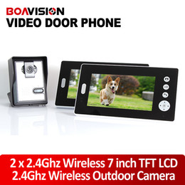 Wholesale Security Camera W - 2.4GHz 7'' Wireless Video Door Phone Audio Visual Intercom 2 Monitors with CMOS Camera Night Vision Home Security