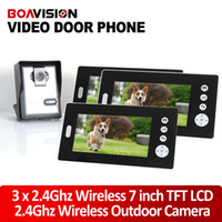"Wholesale Tft Wireless Doorbell Intercom - 7"" TFT 2.4G Wireless Video Door Phone Intercom Doorbell Home Security Camera Monitor Night Vision 1to3"