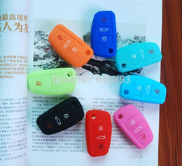 Wholesale Key Covers For Audi A6 - Remote Silicone 3 Key Shell Case Cover Flip FOB For AUDI A1 A3 A4 A5 A6 Q3 Q5 Q7 R8 TT 2pcs lot