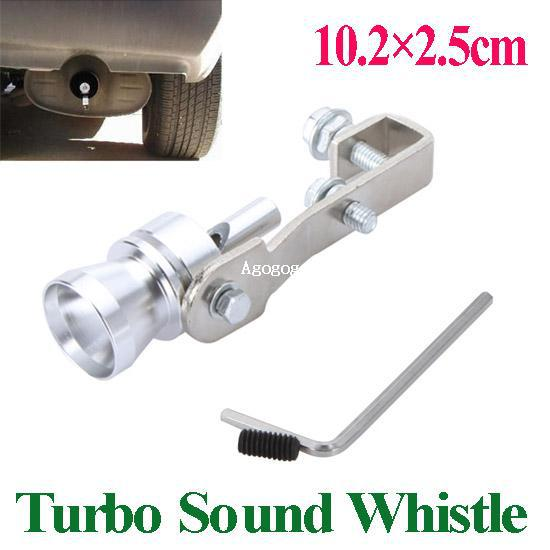 Universal Turbo Sound Whistle Exhaust Pipe Tailpipe Fake BOV Blow-off Valve Simulator Aluminum Size M 10.2x2.3cm 1pc