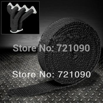black fiberglass automobile/motorcycle exhaust wrap thermal heat wrap 2in. width 15M length