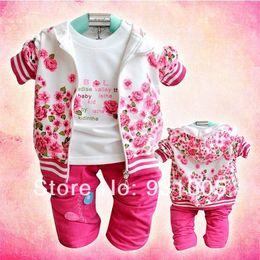 retail girl shirt 2019 - Wholesale-Retail+Free Shipping Baby girl clothing set for spring children's garment flower print plus velvet clothi