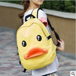 Wholesale Shoulder Bag Duck - Wholesale-Free shipping+Foreign Trade Lovely Yellow Duck Pattern Canvas Backpack,School Bag,Travel Bag,Casual Shoulder bag