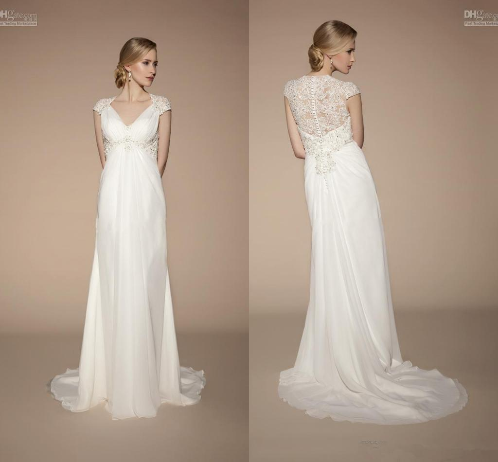 Empire Ball Gown Wedding Dresses: Popular Style Beach Empire Wedding Dresses Cap Sleeve V