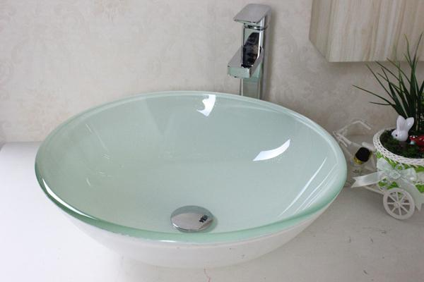 Discount White Tempered Glass Bathroom Basin Tempered Glass Vessel - Bathroom sink and faucet set