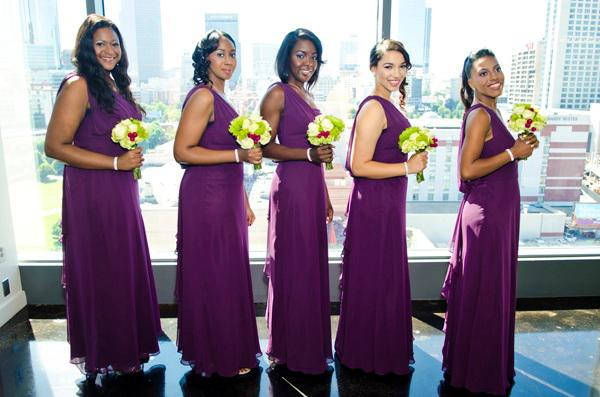 Purple One Shoulder Bridesmaid Dresses Chiffon Ruffles Floor Length Custom Made Evening Gowns Prom Dress