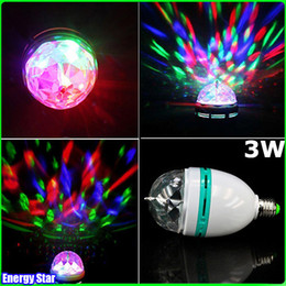 Wholesale Dazzling Disco Ball Crystal - Dazzling E27 3W RGB LED Laser Stage Light Crystal Magic Ball Effect Colorful Bulb Roating Lamp for KTV Party DJ Disco House Club
