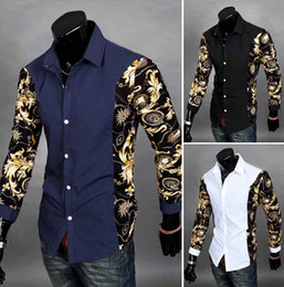Wholesale Casual Western Dresses - 2014 HOT Classic Mens Multicolor splicing Fashion Designer Cross Line Slim Fit Dress man Shirts Tops Western Casual long sleeve shirt