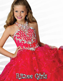 Wholesale Halter Girls Pageant Dresses - 2015 Ritzee Girls Pageant Dresses Light Sky Blue Crew Halter Sleevewless Lace Up Dress Floor Length Crystal Beading Kids Formal Wear