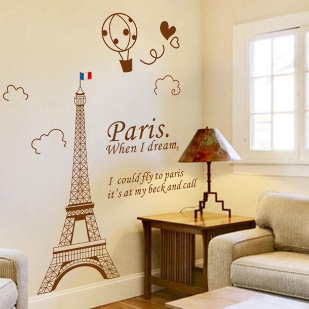 See larger image. Eiffel Tower In Paris Living Room Tv Backdrop Wall Stickers