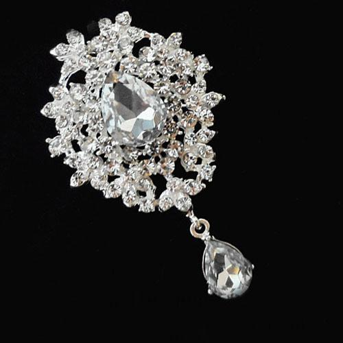 Silver Tone Crystal Drop Pendent Brooch Pins,Wedding Bridal Bouquet Brooch Four Colors Drop Crystal Brooch Women Costume Pins