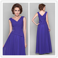 Wholesale Ribbon Embroidery Handmade - 2014 autumn Exquisite blue v-neck chiffon handmade beads Crystals Ruffle A-line Floor length Mother of the Bride Dresses