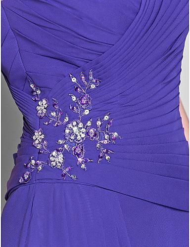 2019 Herbst Exquisite blaue V-Ausschnitt Chiffon handgefertigte Perlen Kristalle Rüschen A-Linie bodenlangen Mutter der Braut Kleider