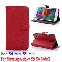 Wholesale Galaxy Note3 Holster Case - Litchi Embossed PU Leather Flip Wallet pouch stand Case Cover bracket holster For Samsung Galaxy S6 G9200 edge S5 mini i9600 Note3 S4 mini