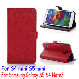 Wholesale Galaxy S4 Mini Flip Covers - Litchi Embossed PU Leather Flip Wallet pouch stand Case Cover bracket holster For Samsung Galaxy S6 G9200 edge S5 mini i9600 Note3 S4 mini