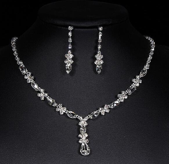 Lüks elmas küpe kolye takı setleri kız gelin kristal düğün parti Noel takı setleri Tiaras kolye kolye saplama küpe