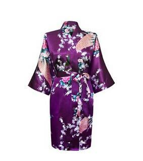 Donna solido royan seta Robe signore raso pigiama lingerie pigiameria kimono accappatoio pigiama camicia da notte i # 3699