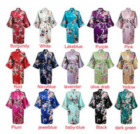 Wholesale Silk Print Robe - womens Solid royan silk Robe Ladies Satin Pajama Lingerie Sleepwear Kimono Bath Gown pjs Nightgown 17 colors#3699
