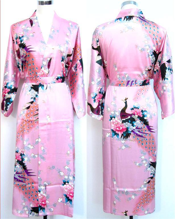 женская сплошной розовый шелковый халат дамы атласная пижама нижнее белье пижамы кимоно банный халат пижамная ночная рубашка 17 цветов # 3699
