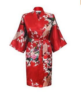 Para mujer Traje de seda de royan sólido Señoras del satén Pijama Ropa interior Ropa de dormir Kimono Bata de baño pjs Camisón es # 3699