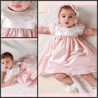 Wholesale Taffeta Baptism Dresses - 2017 Pattern Baptism Dresses Cute Jewel Neck A Line Short Sleeves Ivory and Pink Taffeta Embroidery Christening Dresses for Baby Girls