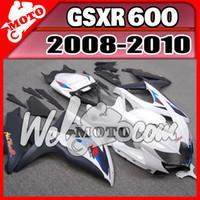 Wholesale Gsxr Plastics - Welmotocom Injection Mold Fairing For Suzuki GSXR600 GSX-R 600 GSXR 600 750 2008-2010 08-10 K8 Body Kit Blue White S68W66+5 Free Gifts