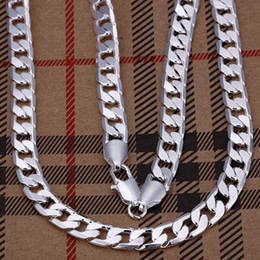 """Wholesale Mens 8mm Silver Chain - wholesale 8mm width 925 Silver man jewelries fashion jewerly 20"""" mens chain curb necklaces"""