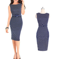Wholesale Bamboo Cocktail - S5Q Women's Polka Dot Belt Slim Bodycon Work Party Cocktail Evening Pencil Dress AAADTE