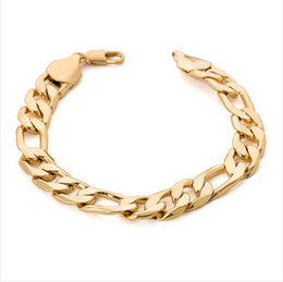 12mm figaro chain UK - Heavy wide figaro gold bracelet men 12mm 9.5inches 18K Real Gold Plated big thick chain bracelet men Jewelry