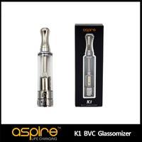 aspire bvc doppelspulen großhandel-100% authentische Aspire BVC K1 Glassomizer 1,5 ml elektronische Zigarette Tank Aspire Zerstäuber Ego Clearomizer Beste Aspire Dual Coil Zerstäuber