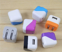 Wholesale Mini Folding Wall - Universal Portable Mini Type Foldable Folding US Plug USB Home AC Power Adapter Wall Charger Charging For iPhone 4 4S 5C 5S iPad 5 4 Air