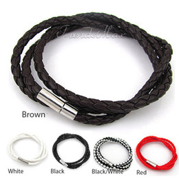 Wholesale Womens Brown Leather Bracelets - Mens Womens Vogue Surfer Brown White Black Red Rope PU Leather Necklace Chain Bracelet Wrap Surf Bracelet Wristband LBW79