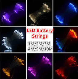 Battery Operated Fairy Lights Purple Canada - Christmas Strings Festival String Party Lights 1M 2M 3M 4M 5M LED Strings Mini Fairy Lights 3XAA Battery Operated LED Strings Garland String
