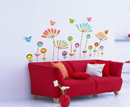 Wholesale Sticker Flowers Butterfly - Flowers and Butterfly Home Decor Decals Wall Art Sticker