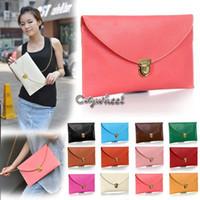 Wholesale Korea Purse Sale - Wholesale-2014 Hot Sale Korea Style Women Envelope Clutch Chain Purse Handbag Shoulder Bag Evening Clutch Colors free shipping