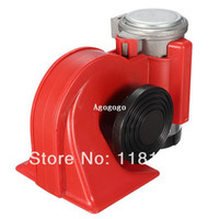 Wholesale 12v Electric Air Horn - Car Motorcycle Truck 12V Red Compact Dual Tone Electric Pump Air Loud Horn Vehicle Siren Free Shipping