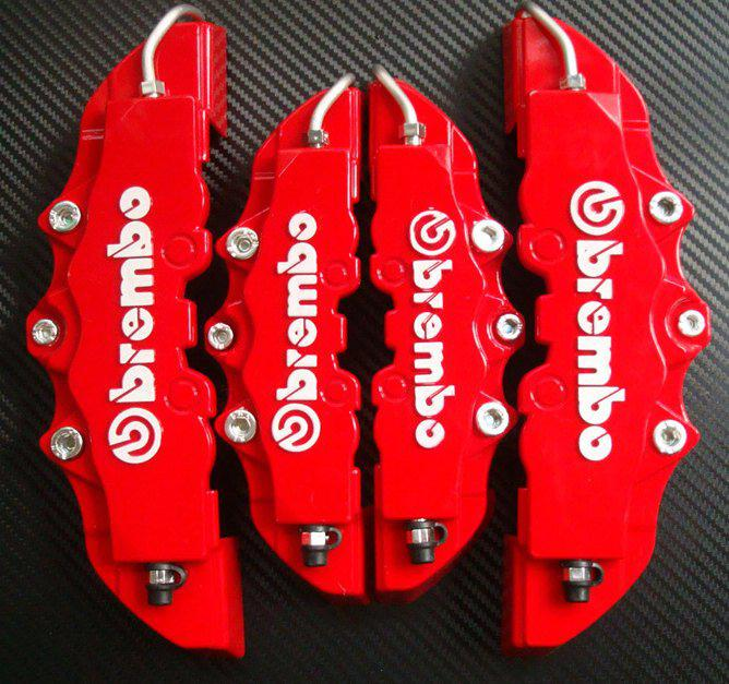 4pcs Red ABS Front Rear Disc Brake Caliper Cover With 3D Brembo Universal  Kit