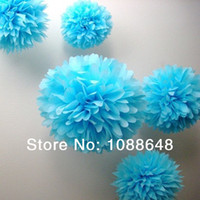 Wholesale Tissue Paper Poms Wholesale - Wholesale-50pcs Lot (6 inches )15cm Tissue Paper Pom Poms Paper Flowers Ball wedding Decorations And Birthday Decoration For Parties