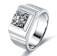 Wholesale Round Solitaire White Sapphire Ring - Size 9-12 Men's 925 Silver Filled White Sapphire Round Crystal Stone Solitaire Ring