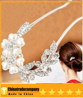 Wholesale Spiral Flower Hair Pins - 2014 new pearl tiaras Hair Jewelry hair Flowers Brooches Pins bridal hair accessories Pearl spiral clip wedding hair accessories
