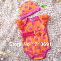 bebek çorabı şapka toptan satış-Stokta Toptan Satış! Bebek Kız Papyon Setleri, Bebek kız fırfır romper + şapka 2 adet takım elbise toddler bebek setleri 4 takım / grup
